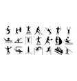 silhouette people sport different activity icons vector image