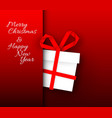 simple red card with christmas gift made from vector image vector image