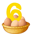 Six eggs vector image
