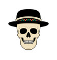 stylized skull in hat black and white vector image vector image