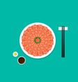 top view sashimi salmon on white plate vector image vector image