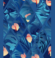 tropical plant seamless pattern heliconia palm vector image vector image