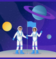 two cosmonauts placing flag flat vector image vector image
