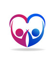 valentines couple of love heart shape logo vector image