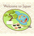 welcome to japan promotional poster with sushi vector image