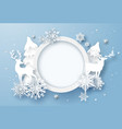 winter holiday card with snowflakes and reindeer vector image