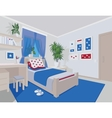 Colorful interior of bedroom in flat cartoon style vector image