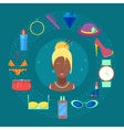 Fashion Set of Woman Cosmetics Accessories vector image