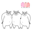 3 pig coloring book Three Little Pigs in linear vector image vector image