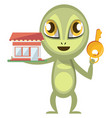 alien holding key on white background vector image vector image