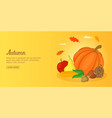 autumn foods banner horizontal man cartoon style vector image vector image