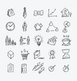 business doodle icons set drawing sketch hand vector image vector image