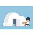 businessman keep his stuff in cloudy shape room vector image vector image