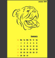 calendar for 2018 year year of the yellow dog vector image vector image