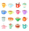 cartoon cup kids mugs hot coffee or tea vector image