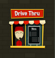 cartoon drive thru menu board fast food business vector image vector image