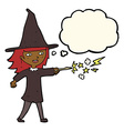 cartoon witch girl casting spell with thought vector image vector image