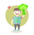 cheerful little boy with green broccoli vector image vector image