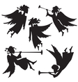 Christmas angel silhouettes vector image