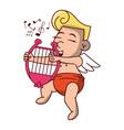 cupid with harp cartoon vector image