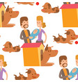 cute dogs and people vector image vector image