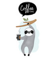 cute sloth bear animal with coffee vector image vector image