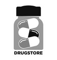 drugstore monochrome promo emblem with jar of vector image
