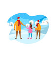 father and children walking at sunny winter day vector image vector image