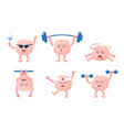 flat set of humanized brains with arms and vector image
