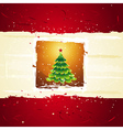 green christmas tree over golden background vector image vector image