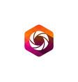 hexagon pixel letter shadow logo icon design vector image vector image