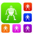 humanoid robot set color collection vector image vector image