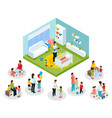 isometric babysitter and kids concept vector image