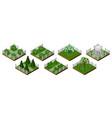 isometric park or garden set summer garden tiles vector image vector image
