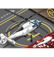 Isometric White Helicopter Landed in Rear View vector image vector image