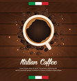 italian coffee banner coffee time cup grain vector image vector image