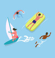 man and woman swimming in water swimmer vector image vector image