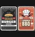 meat burgers and bbq posters grill food party vector image vector image