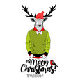 merry christmas card with funny deer animal in vector image
