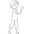 Outline boy with flower vector image vector image
