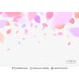 pink pastel petals on transparent background vector image vector image