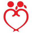 Red heart boy and girl symbol vector image vector image