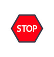 red stop road sign isolated on white vector image