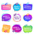 refer friend badges referral program badge vector image