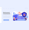 retirement investments concept landing page vector image vector image