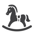 rocking horse solid icon wooden toy vector image