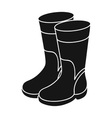 Rubber boots icon in black style isolated on white vector image vector image
