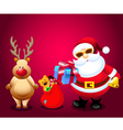 Santa and Christmas Gifts with Rain Deer vector image vector image