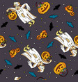 seamless pattern for halloween with a boy vector image