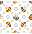 seamless pattern with friendly cute cartoon bee vector image vector image